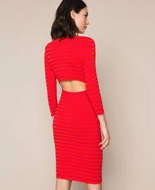 Robe fourreau dos nu à rayures Rayé Rouge «Griotte» / Rouge «Jaspe» Femme 201TP306A-04