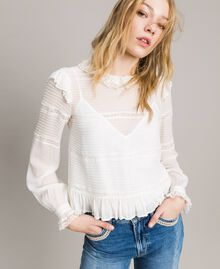 Georgette and lace blouse White Snow Woman 191TP2120-01