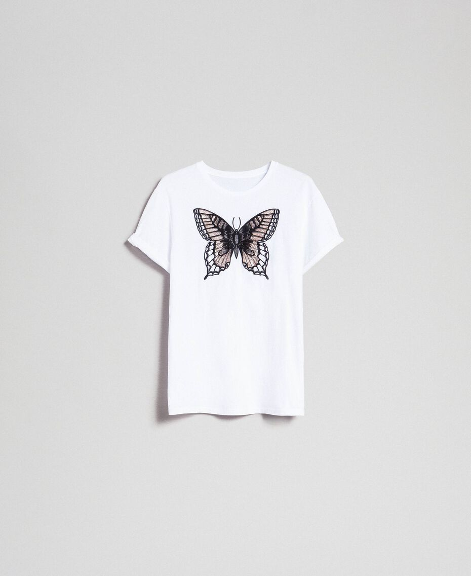 T-Shirt mit Stickschmetterling Weiß Frau 192TP2711-0S