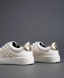Faux leather trainers with rhinestones White Woman 192MCT140-02
