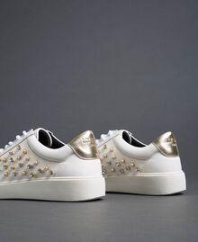 Sneakers de piel sintética con strass Blanco Mujer 192MCT140-02