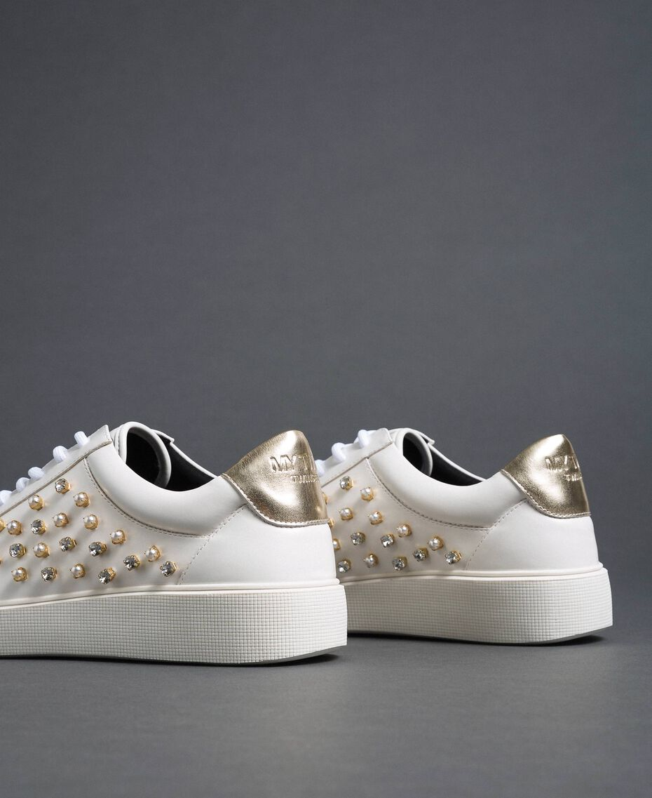 Sneakers in similpelle con strass Bianco Donna 192MCT140-02