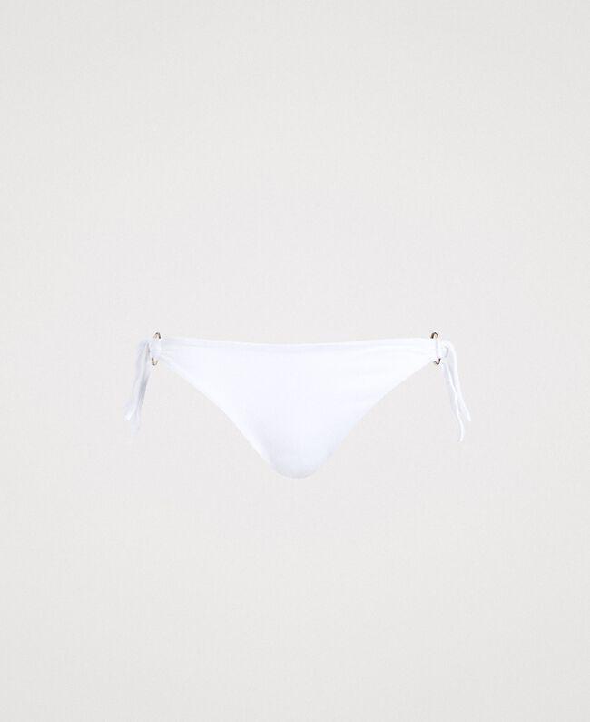 Bikinitanga mit Zierringen und Schleifen Schwarz Frau 191LBM288-01