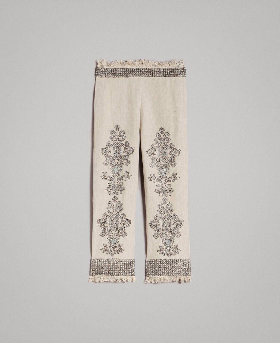 """Pantalon en lin orné de perles et de sequins Beige """"Sable"""" Femme 191TT2061-0S"""