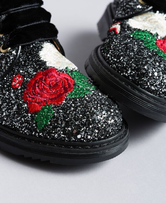 Embroidered lace-up shoes with glitter Bicolour Black / Silver Glitter Child HA88C5-01