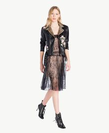 Embroidered biker jacket Black Woman PS82DN-05