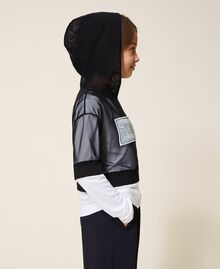 Long sleeve T-shirt and tulle top Bicolour Off White / Black Child 202GJ2730-02