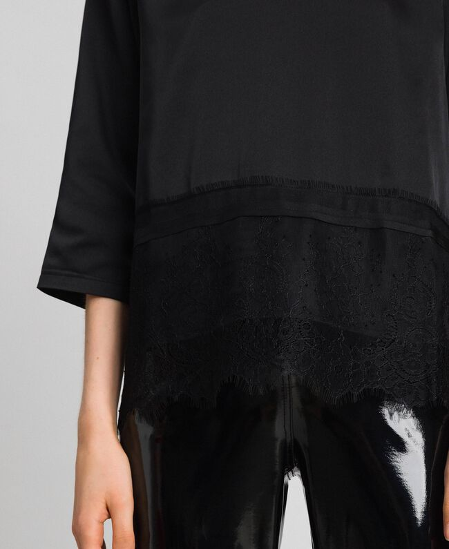 Soft satin blouse with lace flounce Black Woman 192MP2133-04