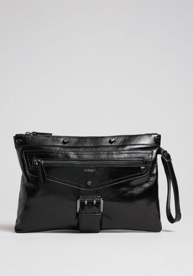 Crackled effect leather clutch bag