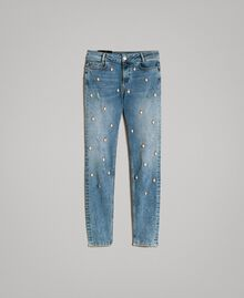 Skinny jeans with bezels and rhinestones Denim Blue Woman 191MP2481-0S