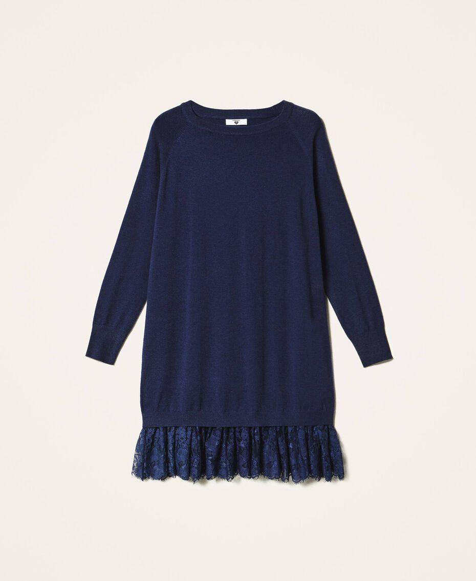 Robe en maille avec bas en dentelle Bleu Blackout Femme 202LI3RFF-0S