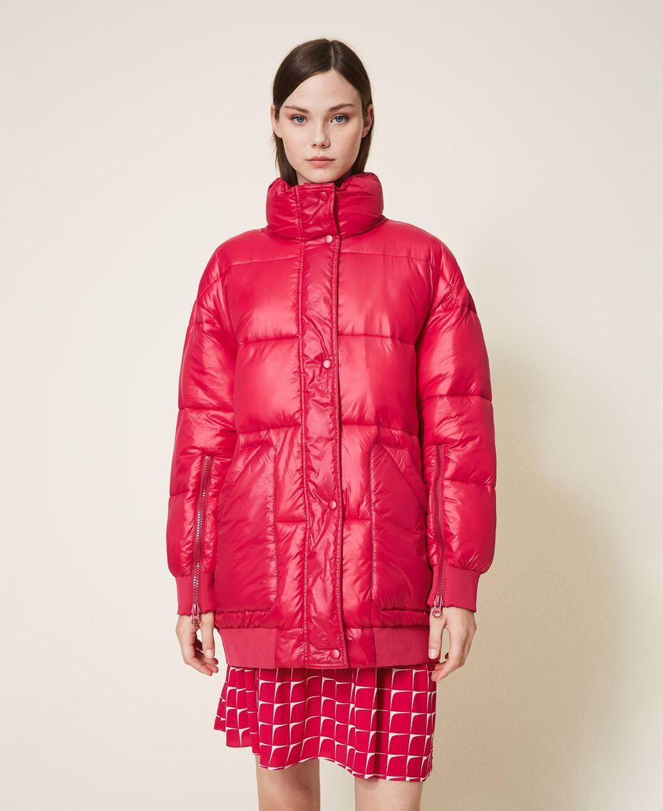 "Oversize puffer jacket with maxi pockets ""Cerise"" Fuchsia Woman 202MP2050-01"