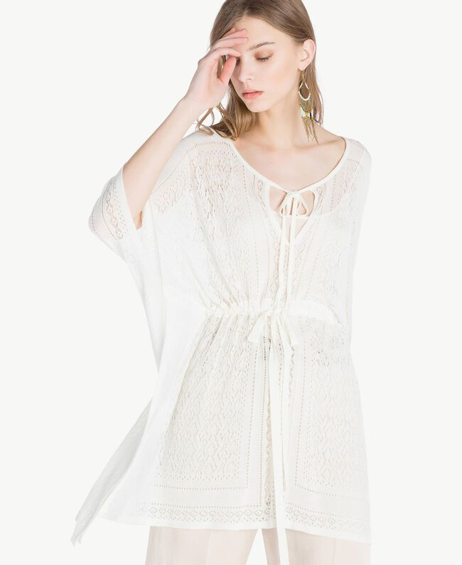 Viscose poncho Mother Of Pearl Woman TS83AD-04
