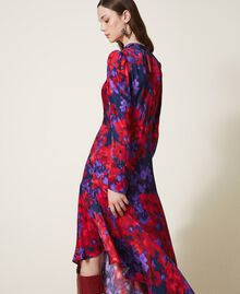 "Floral print satin dress ""Vibrant"" Purple / Venetian Red Floral Print Woman 202TT2350-03"