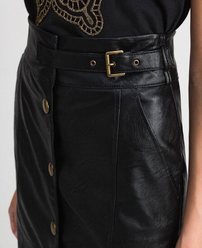 Jupe mi-longue en similicuir Noir Femme 192TT203B-04