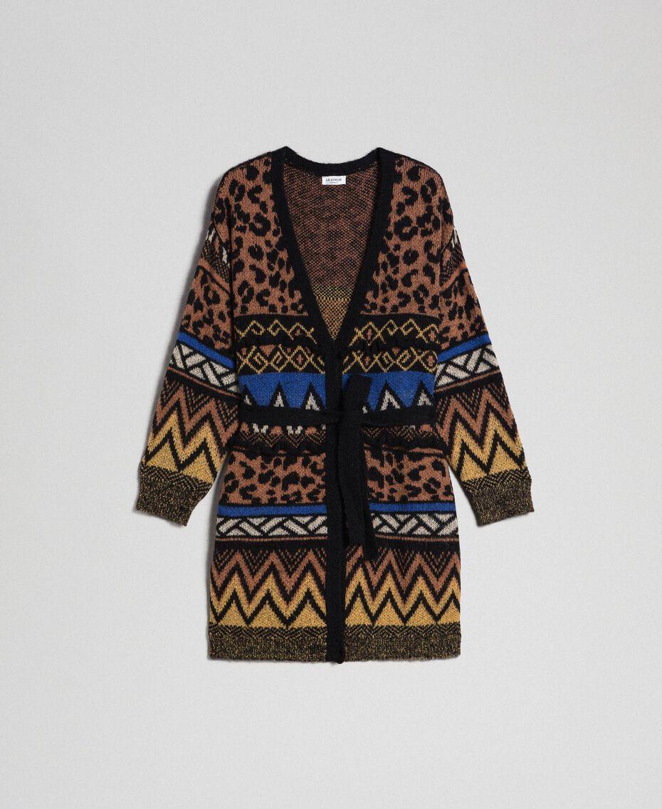 Wool and mohair cardigan with jacquard patterns Geometric Animal Print Mix Jacquard Woman 192ST3191-0S