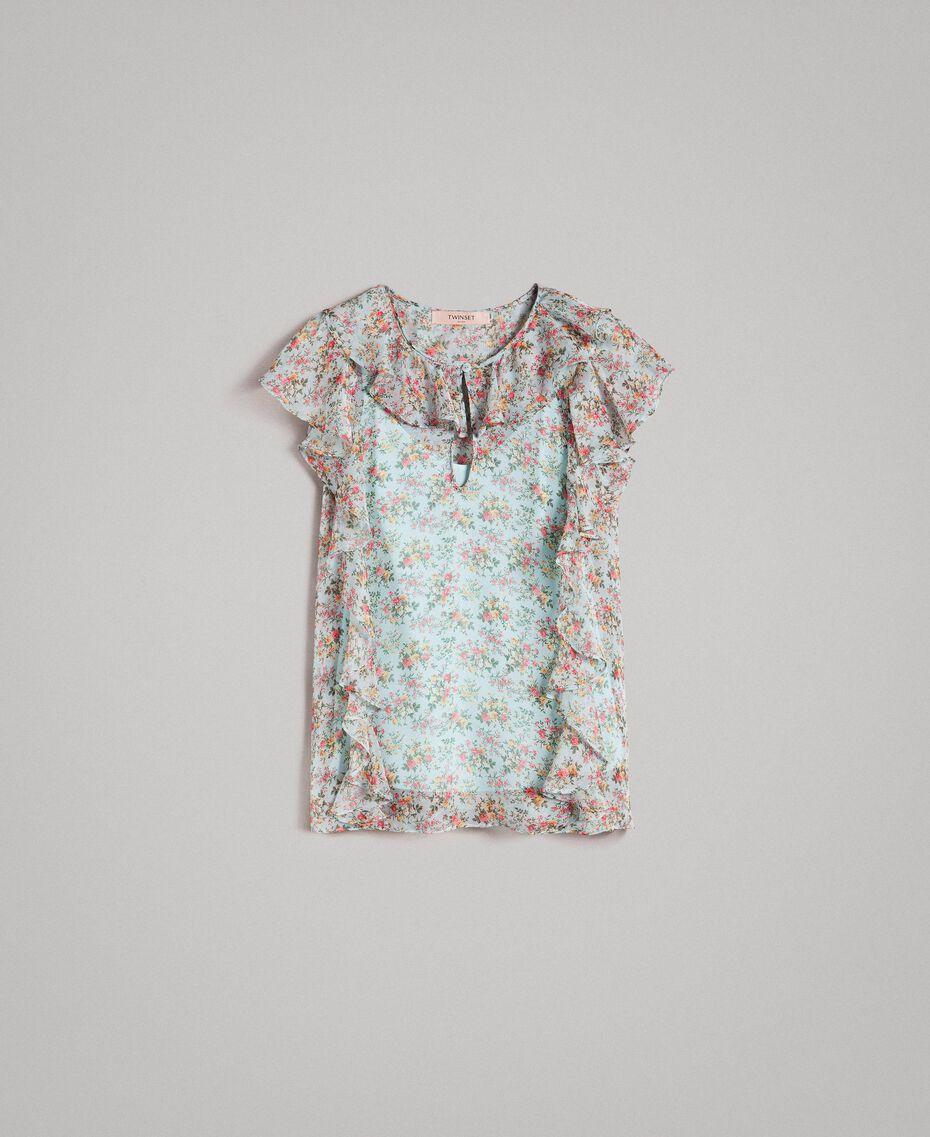 Top en georgette à imprimé floral Imprimé Bouquet Aigue-marine Femme 191TP2570-0S