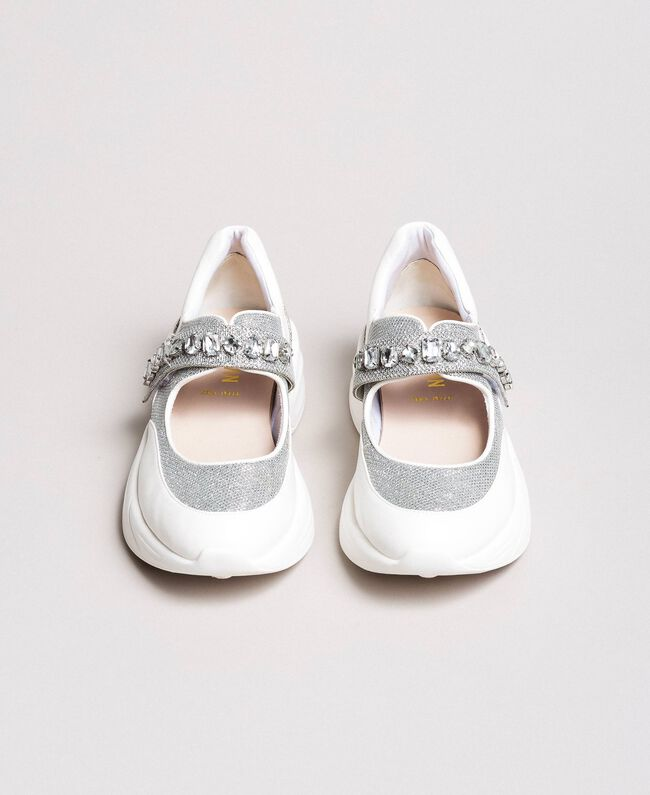 Running shoes with stones White Cream Woman 191MCP03C-01