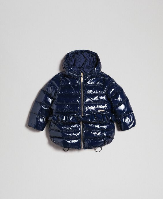 Real down puffer jacket with frill