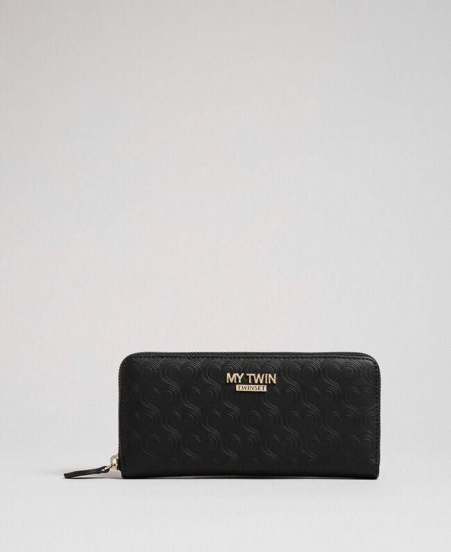 Heart print faux leather wallet Black Woman 192MA7015-01