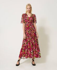 Floral creponne long dress Fuchsia Floral Print Woman 202TP2531-01