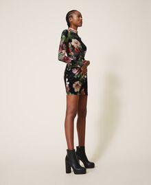"Floral velvet sheath dress Black / ""Peach Pearl"" Floral Print Woman 202TT2361-04"