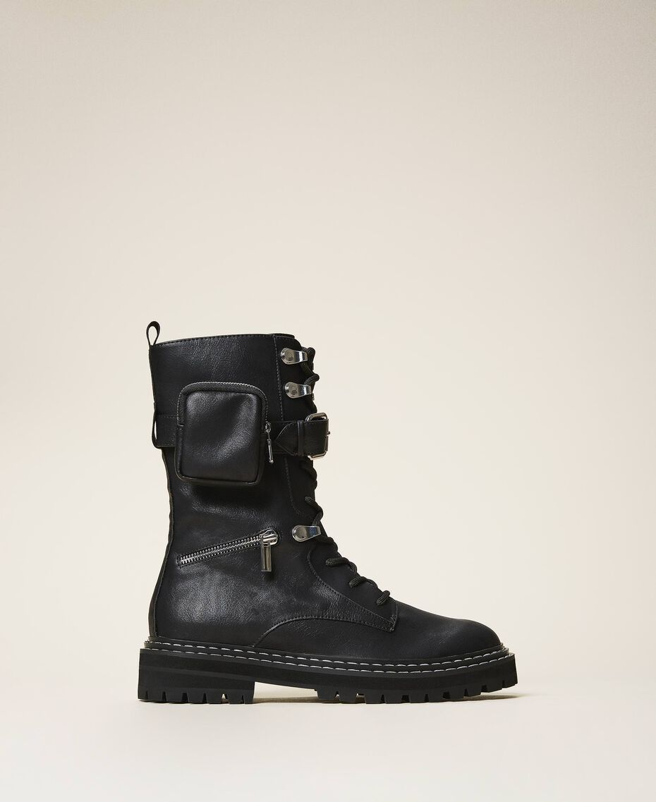 Combat boots with zip and side pocket Black Woman 202MCT122-02