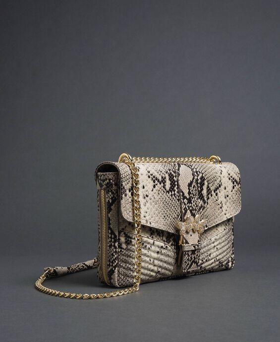 Large Rebel python leather shoulder bag