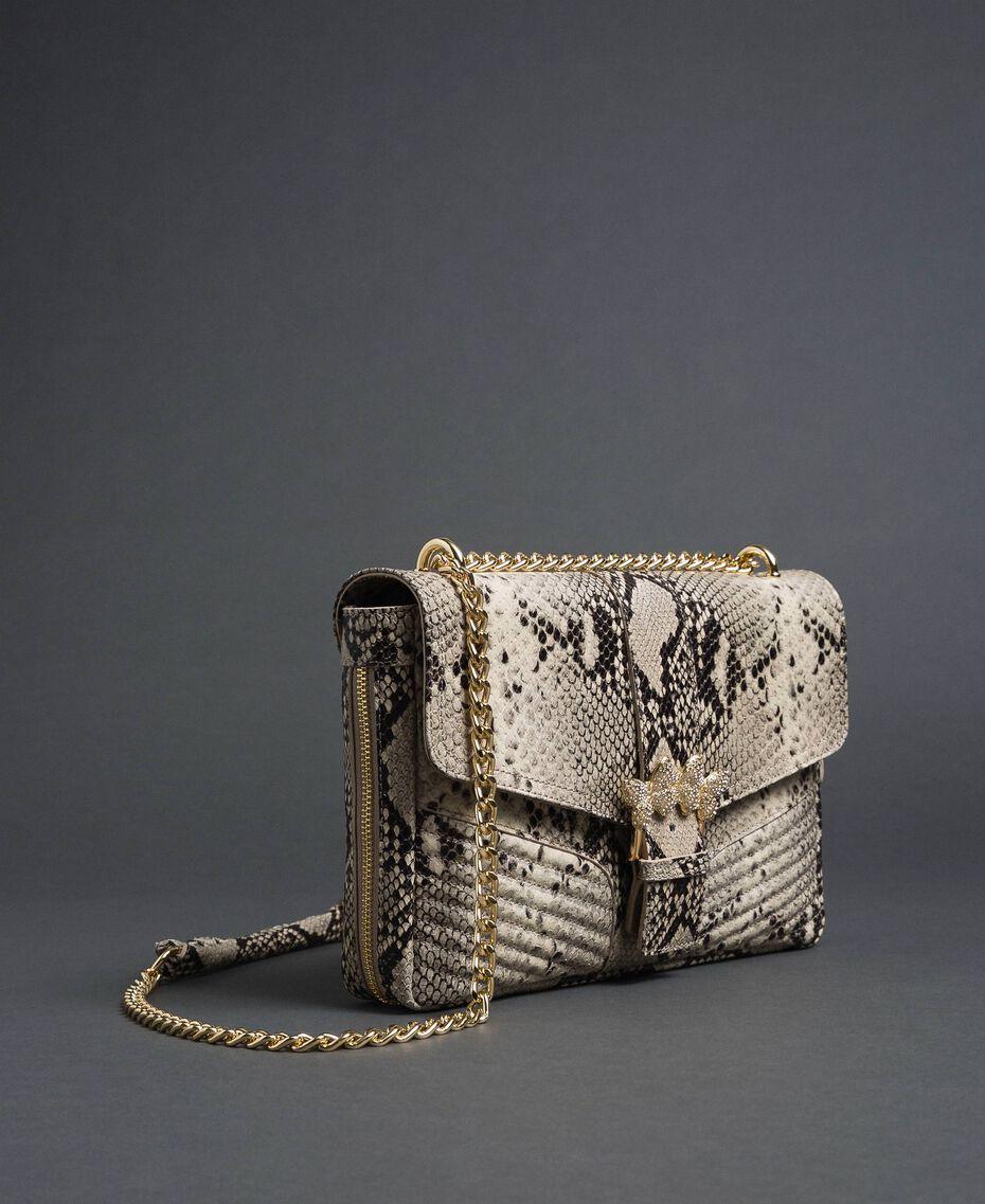 Large Rebel python leather shoulder bag Rock Python Print Woman 192TO7230-01