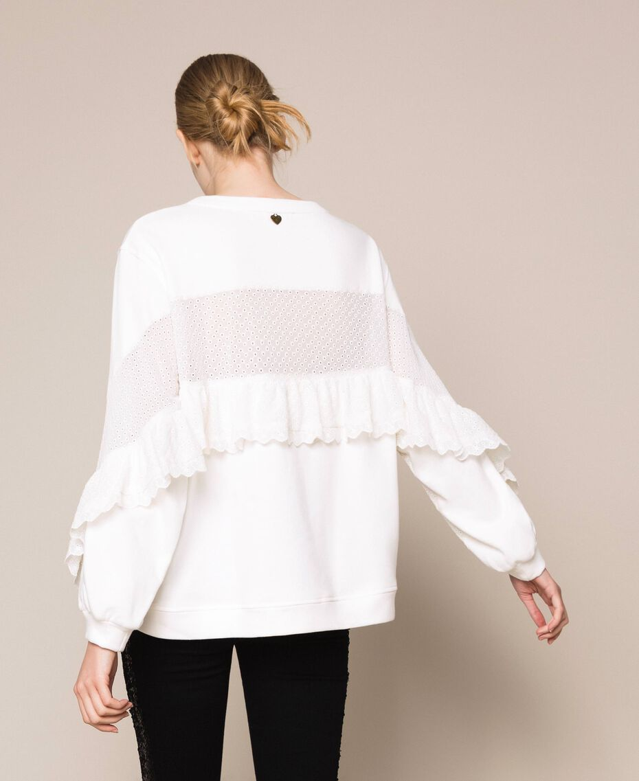 Sweatshirt with broderie anglaise inlay and ruffle White Snow Woman 201TP249A-01