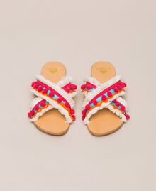 Weaved slippers with pompom and fringe Multicolour Woman 201LMPZUU-05