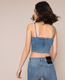 Denim bustier top Denim Blue Woman 201MP2279-03