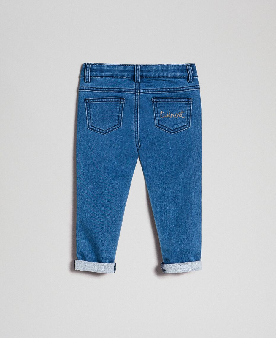 Jeans effect skinny trousers with studs Mid Denim Child 192GB2150-0S