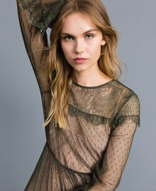 Tulle plumetis and lace long dress Forest Green Woman TA82XA-04
