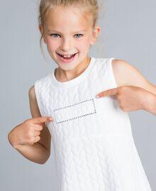 Matelassé fleece dress with rhinestones Off White Child GA82NP-04