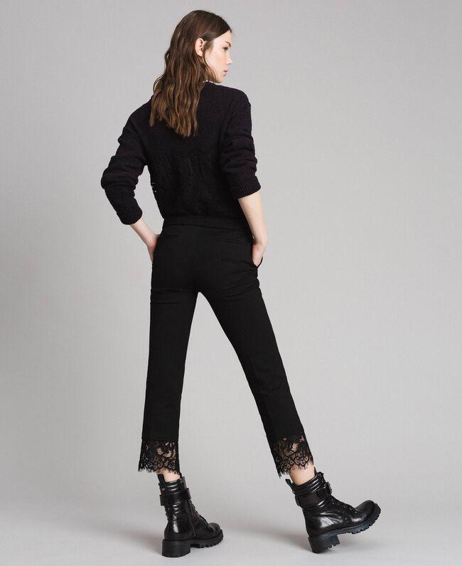 Pantalon en point de Milan et dentelle Noir Femme 191TP242H-04