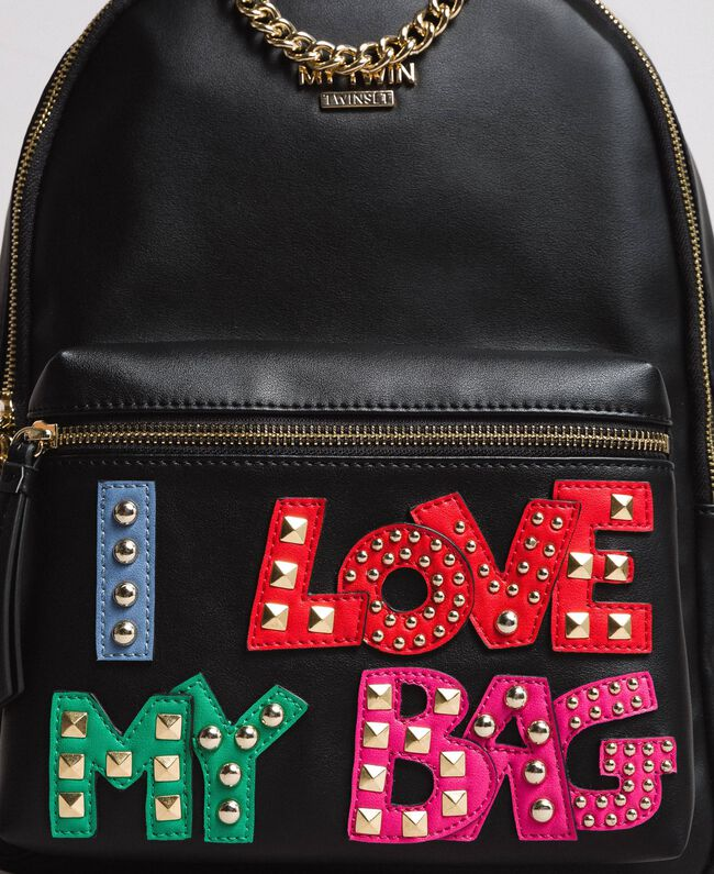 Faux leather backpack with patch and studs Black Woman 191MA7073-03