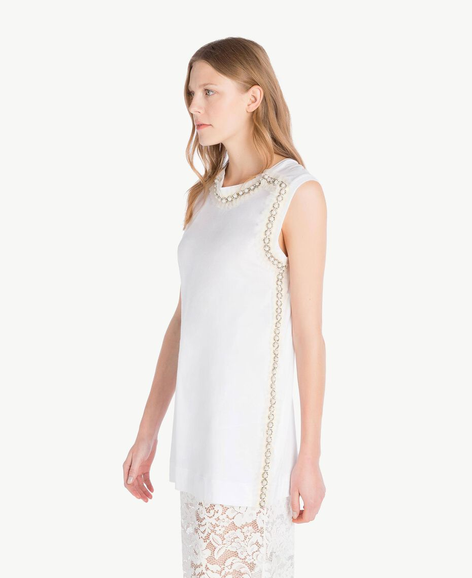 Embroidered tank top White Woman TS829W-02