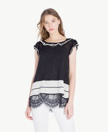 Top dentelle Bicolore Noir / Blanc Parchemin Femme YS83BB-01
