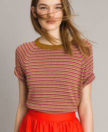 Lurex striped jumper Pink Lurex Multicolour Striping Woman 191TT3120-01