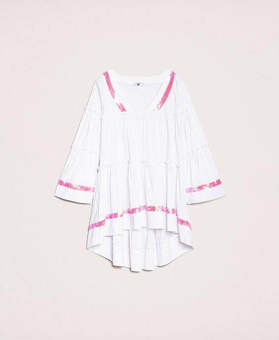Платье-кафтан с оборками и пайетками