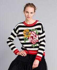 """Wool blend jumper """"Snow"""" White / Black Stripe Woman PA83HR-04"""