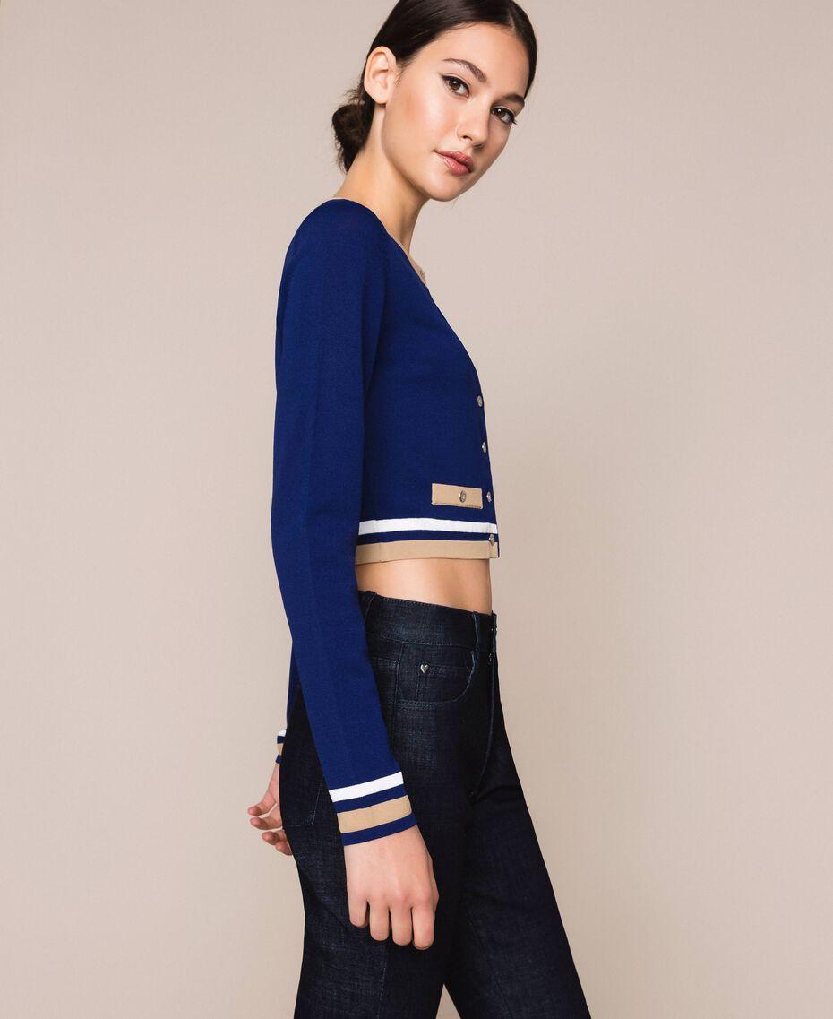 "Contrasting trim cropped cardigan Multicolour ""Ultramarine"" Blue /""Hemp"" Beige / Vanilla Woman 201MP3051-02"