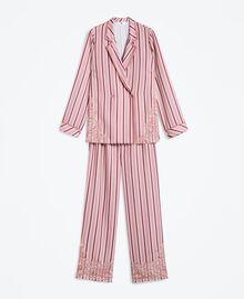 Pyjama mit Streifenmuster und Spitze Mehrfarbige Streifen Barockrosa Frau IA8DNN-01