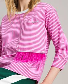 "Striped poplin blouse with feathers Optical White / ""Electric Pink"" Striping Woman 191TP2311-04"