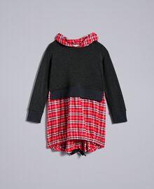 Kleid aus Sweatstoff und kariertem Stoff Zweifarbig Graumelange / mohnrote Karos Kind GA8243-01
