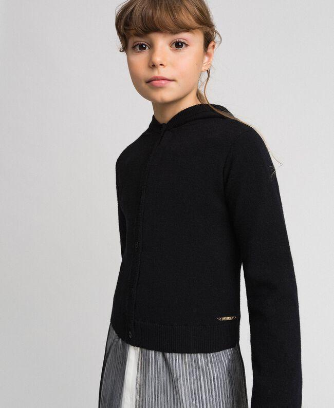 Cardigan avec insertion en tulle Noir Enfant 192GJ3111-01