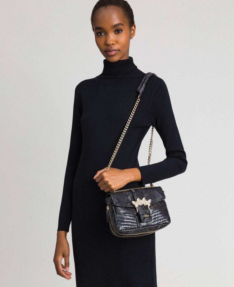 "Small Rebel shoulder bag with python print ""Anthracite"" Grey Python Print Woman 192TA7231-0S"