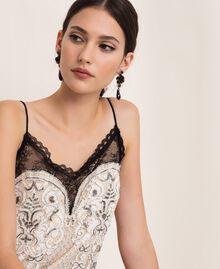 Floral earrings with teardrop pendant Black Woman 201TA4308-0T