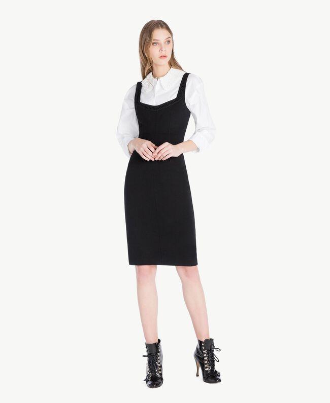 Bluse mit Häkelverarbeitung Weiß Frau PS826Q-05